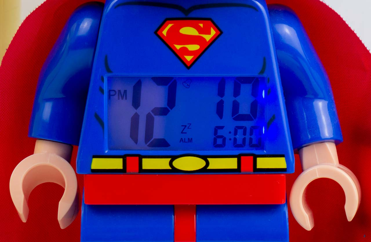 Lego Superman Alarm Clock Backlit LCD - We Try Anything
