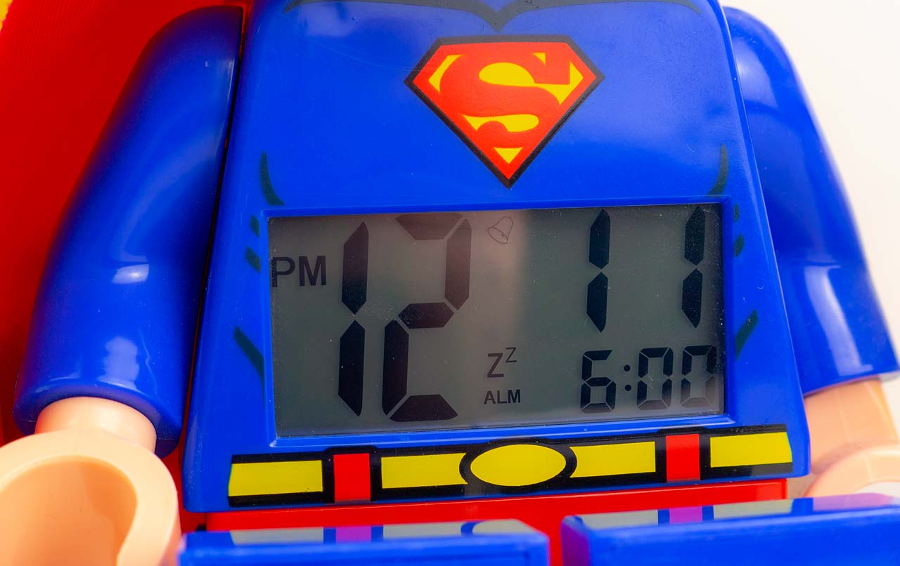 Lego Superman Alarm Clock LCD Clock Face - We Try Anything