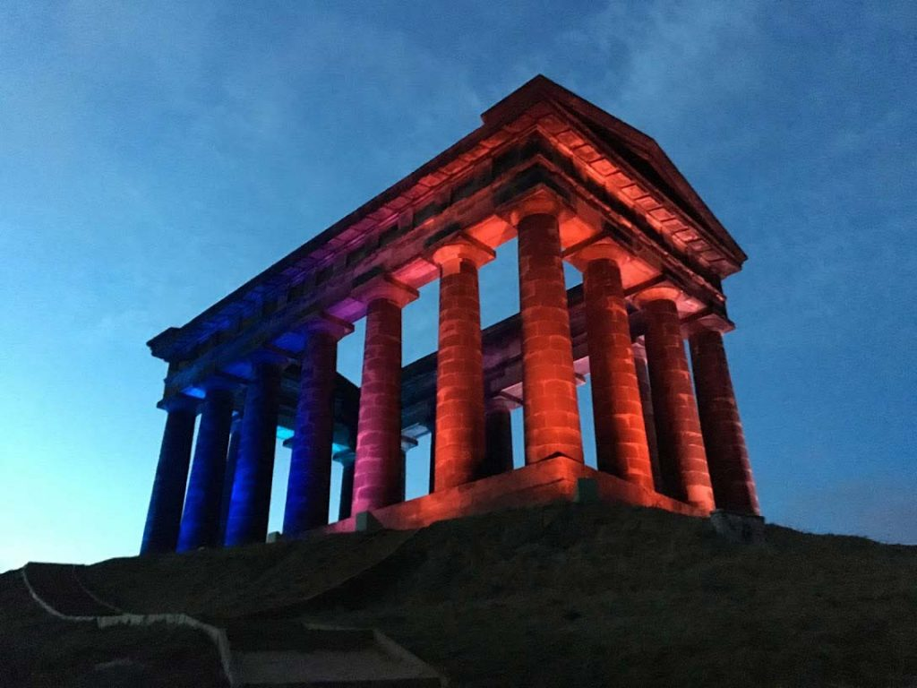 Penshaw Monument illuminated